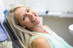 Castle Shannon Cosmetic Dentist Smiling woman in dental chair