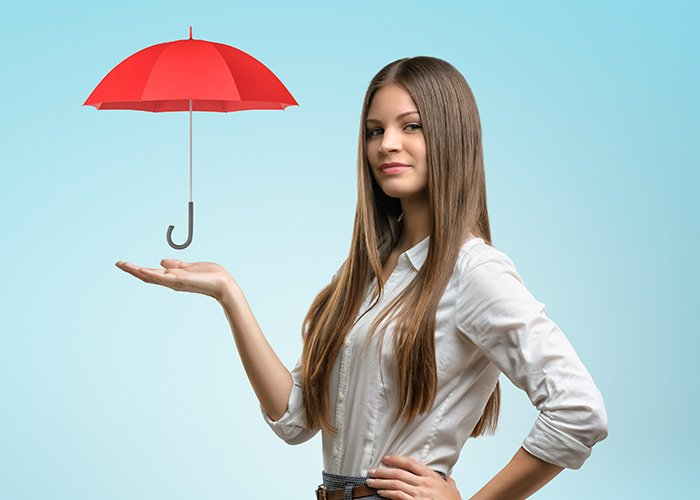 Woman holding an animated umbrella